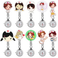 Wholesale cross watches woman for sale - Group buy 1PC Cute Cartoon Label Clip Pendant Pocket Pocket Watch Quartz Red Cross Brooch Movement Accessories for Women Girl