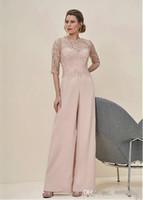 arka fermuar tulum takımı toptan satış-Yeni Varış Tulumlar Dantel Yarım Kollu Düğün Konuk Elbise Fermuar Geri Uzun Anne Pantolon Pant Suits