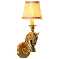 lámparas de noche de cobre al por mayor-American Loft Copper Head Cabeza de la sala de estar Lámpara de pared Tela Vintage Sombra Dormitorio Asientos Corredor Escalera Caja Apliques de pared
