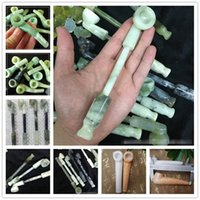 Wholesale filter stone resale online - Jade Smoking Gloss Stone Pipe Smoking Tobacco Hand Cigarette Holder Filter Pipes inches inches length Styles Christmas Gift