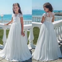 şifon çiçek uzun elbise nedime toptan satış-Kızlar Uzun Şifon Çiçek Kız Elbise Gelinlik Parti Pageant elbise A-Line Dantel Çiçek Kız Abiye Beyaz İlk Communion Elbise