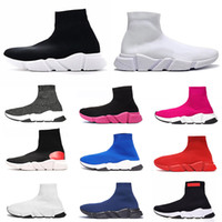 Wholesale black pu men s boots resale online - Brand Luxury Sock Shoes Speed Trainer S Men Women Black White Blue Red glitter Socks Sneakers Race Runners Fashion Top Boots Mens Trainers