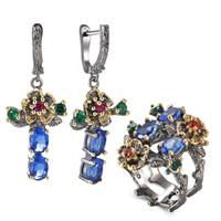 Wholesale blue leaf ring for sale - Group buy Blue Crystal Earrings Ring Jewellery Set Leaf Dangle Earrings Multi Zirconia Flower Pretty Jewelry Sets for Women