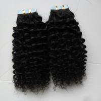 sarışın insan saç paketleri toptan satış-Kinky kıvırcık Cilt Atkı İnsan 100G Insan Saç Yılında 40 ADET Bant Sarışın Görünmez Siyah Gerçek Saç 1 paket Remy Saç Kahverengi