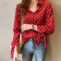 ingrosso blusas chiffon polka-2019 Plus Size Shirts Donna camicette camice casuali Polka Dot manica Camicetta femminile lungo arco chiffon Blusas M-4XL 1202 40