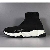 Wholesale party shoes bags for sale - Group buy Designer Sneakers Speed Trainer Black Red Gypsophila Triple Black Fashion Flat Sock Boots Casual Shoes Speed Trainer Runner With Dust Bag