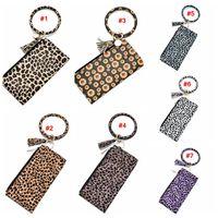 Wholesale round keychains resale online - Leopard Leather Bracelet Key Chain Wallet PU Wristr Round Key Ring Tassel Pendant Wristbands Keychain Bracelets Clutch Purse LJJA3417