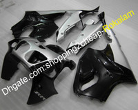 ingrosso corredi scaffali per motociclette aftermarket-Per Kawasaki Fairings Ninja ZX-7R 1996-2003 ZX7R 96-03 ZX 7R Silver Black Motorcycle Cowling kit aftermarket