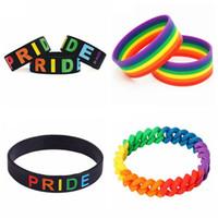 ingrosso bracciali logo-Arcobaleno Gay Pride Wristband Multicolor Bracciale in silicone Nero Word Stampa Arcobaleno Colore Bracciale Gay Logo Colorfull Bracciale HHA422