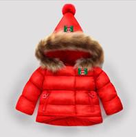 bebek kızı ceket toptan satış-Çocuklar snowsuit 2019 kış bebek kız kış ceket bebek çocuk giyim kürk yaka kapşonlu kalın ceket bebek kız erkek giysileri
