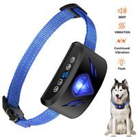 ingrosso barking collare ricaricabile-Collare per cani Bark Stop Collar Vibrazione Collare riflettente impermeabile ricaricabile con luce per la respirazione