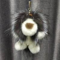 львиные подарочные пакеты оптовых-2019 Lion Toy Doll Keychain Real Mink Raccoon Fur Charm Bag Key Ring Keyring Pendant Gift Charm Accessories