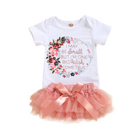 Wholesale button flower girl dresses resale online - Baby Girls TUTU Dress Infant Girls Floral Letter Tops Kids Clothes Toddler Baby Christmas Suits Cartoon Printed Outfits