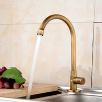 Wholesale brass copper kitchen sinks resale online - Antique Kitchens Single Cold Water Faucets All Copper Rotary Universal Faucet Washing Basin Sink Faucet brass tap