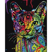 Wholesale colorful wall art paintings for sale - Group buy DIY Colorful Cat Oil Painting Art Wall Home Decoration