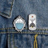 Wholesale brooches sea for sale - Group buy Day And Night Hourglass Lapel Enamel Pin Sea Mirror Drifting Bottle Badge Brooch Jackets Shirt Backpack Retro Jewelry Gift Friends