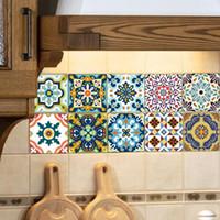 Wholesale kitchen wall tiles designs resale online - Tile Sticker Waterproof Bathroom Kitchen Wall Stickers Self Adhesive Mosaic Marble Morroco Backsplash Tiles Brick Decor Design