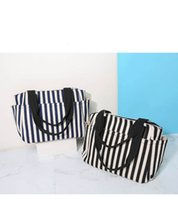 trendy tuval toptan çantalar toptan satış-Moda moda kadın çizgili kanvas çanta, kadın taşınabilir fermuar, tek omuz çantası, kadın Anne bez çanta, çanta.