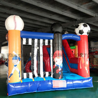 Wholesale inflatable bounce balls for sale - Group buy 4 m Outdoor Ball Game Sports Design Inflatable Mini Trampoline with Slide Bounce Slide in