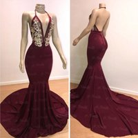 Wholesale gray mermaid ball dress resale online - Burgundy Prom Dresses Sexy Mermaid Halter Neck Open Back Evening Gowns Gold Crystal Bead Party Ball Red Carpet Dress