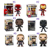 muñecas de hombres negros al por mayor-2019 Funko pop Avengers: Endgame Figure Juguetes para muñecas Nuevos niños Avengers 4 Iron man Spiderman Thor Capitán América Pantera negra Figura Toy C21