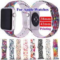 Wholesale fashion flowers for online - Fashion flower pastoral printing silicone bands straps for apple watches mm mm mm mm beautiful rubber wrist watchbands accessories
