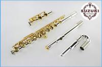 botones musicales al por mayor-Nueva alta calidad SUZUKI 16 hoyos flauta abierta instrumentos musicales Cupro niquelado cuerpo chapado en oro botón de laca con estuche