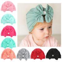 fitas de pérola indiana venda por atacado-Pérola bonito Bowknotted Indiano Hat Bandanas bebê meninas crianças turbante headband hairbands acessórios para crianças headwrap