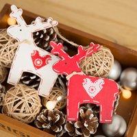 ingrosso decorazioni rosa di forma cuore-Cervo Stella a forma di cuore Capodanno Legno Ornamenti natalizi Pendenti Appesi Artigianato Decorazioni natalizie Decorazioni per feste di nozze 62621