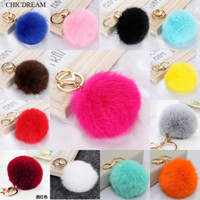 Wholesale white onyx stone resale online - Multi Color Pink Rabbit Fur Ball Keychain Bag Plush Car Key Holder Pendant Key Chain Rings For Women New Fashion Jewelry