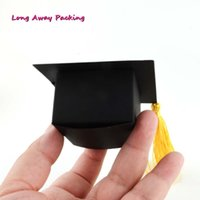 ingrosso favoriscono scatole per la laurea-100 pezzi Doctor Hat Shape Black Graduation Back To School Bomboniera Bomboniera Bomboniera Bomboniera