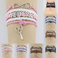 Wholesale infinity scissor resale online - 10PC Silver Infinity Love Hairdresser Hairstylist Scissors Charms Bracelet Adjustable Leather Bracelets Women Men Jewelry