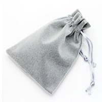 çorap torbaları gümüş toptan satış-500 adet / grup Toptan 9x12 cm Çift Hatları Gümüş Gri Yumuşak Kalınlaşmak İpli Kadife Çanta Torbalar Takı Ambalaj Için Hediye Çantası