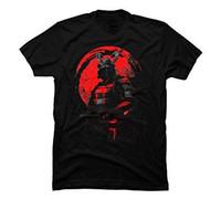 ingrosso top samurai-Gli uomini del Guerriero Samurai Graphic T shirt in cotone maschio O-collo della maglietta 2017 di moda 100% casuale brevi parti superiori del T
