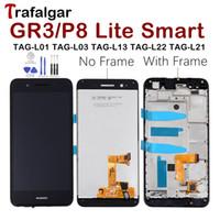 etiqueta de pantalla lcd al por mayor-Huawei GR3 Pantalla LCD Pantalla táctil Disfrute de la pantalla inteligente 5S P8 Lite con marco TAG-L21 TAG-L22 TAG-L03 TAG-L01 TAG-L13 TAG-L23