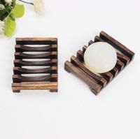 bandeja de distribuição venda por atacado-Bambu Natural de madeira pratos de sabão de madeira Soap Tray Titular rack de armazenamento Placa Caixa Container sabonete pratos CCA11546-1 50pcs