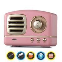 tv için mini hoparlörler toptan satış-Mini Taşınabilir Hoparlörler Kablosuz Bluetooth Retro Hoparlör Soundbar Smartphone PC Bilgisayar TV Için Süper Bas USB Subwoofer TF FM Radyo