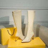 botas tacones vestido al por mayor-Nuevo diseñador de las mujeres de las señoras de la rodilla botas altas Marca botines en punta del dedo del pie de cuero 9.5cm Talones patente de zapatos atractivos del vestido de Martin botas de invierno 35-40