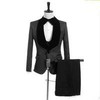 neue hochzeitsmuster männer großhandel-New Custom Made Groomsmen Schwarz Muster Bräutigam Smoking Schal Revers Männer Anzüge Side Vent Hochzeit Prom Trauzeuge (Jacke + Pants + Weste + Tie) XF290