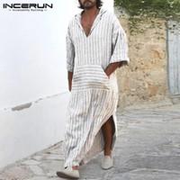 vestido de estilo abaya al por mayor-INCERUN Vestido de estilo musulmán para hombre Kaftan Robe Camisas largas de rayas blancas Bata islámica Salón vestido Masculino Abaya Árabe Ropa