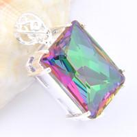 Wholesale antique square pendants for sale - Group buy Luckyshine Fashion Jewelry Silver Antique special Square Fire Mystic topaz Crystal pendants Lady Engagement Pendants