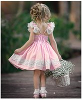 Wholesale sexy girl elegant clothing online - Ins style new summer pink back hollow out girl sexy girl dress kids clothing elegant ins Summer dress