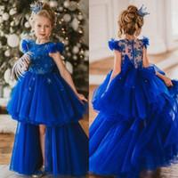 mavi yüksek alçak etek toptan satış-Kraliyet Mavi Yüksek Düşük Çiçek Kız Elbise Jewel Boyun Yıldız Boncuklu Ruffles Kızlar Pageant Elbise Kapaklı Katman Etek Çocuk Doğum Günü törenlerinde