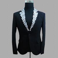 elmas siyah beyaz elbise toptan satış-Elmas blazer erkekler suits takım elbise ceket mens sahne kostümleri şarkıcılar için giysi dans yıldız tarzı elbise punk rock ...