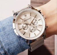 mens bracelet yeni tasarımlar toptan satış-Lüks Sıcak Yeni zarif tasarım Bayanlar Modeli Elbise mavi saatler mens moda Deri bilezik paslanmaz çelik örgü kemer siyah kadın saat