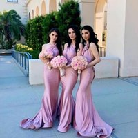 Wholesale satin western dresses for sale - Group buy Romantic Pink Mermaid Bridesmaid Dresses For Western Weddings Mermaid One Shoulder Pleast Satin Long Maid of Honor Gowns Custom Made