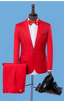 gold rote weiße hochzeitskleidung großhandel-Rot-weiße Kleidung der Sängerstern-Artstufe für den heißen Bohranzug der Männer stellte mit der Hochzeitskostüm-Abendgarderobe der Hosenmänner ein