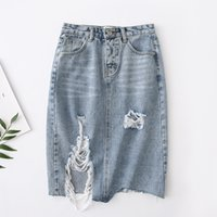 fdb08610da Korean Style 2019 Summer New High Waist Irregular Hole Raw Hair Denim Skirt  Women Skirts B7251