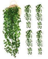 ingrosso piante da giardino decorazione-4 grappoli Viti artificiali Home Garden Decorazione da parete Fake Hanging Plant Foglie di edera ghirlanda