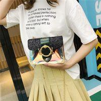 monos de roca al por mayor-Lucky2019 Summer Bag Woman All-match Messenger Transparente Solo Hombro Conciso Monkey Lock Pequeño Paquete Cuadrado
